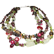 "18"" Gemstone, Freshwater Pearl & Sterling Necklace, Green & Berry Shades!"