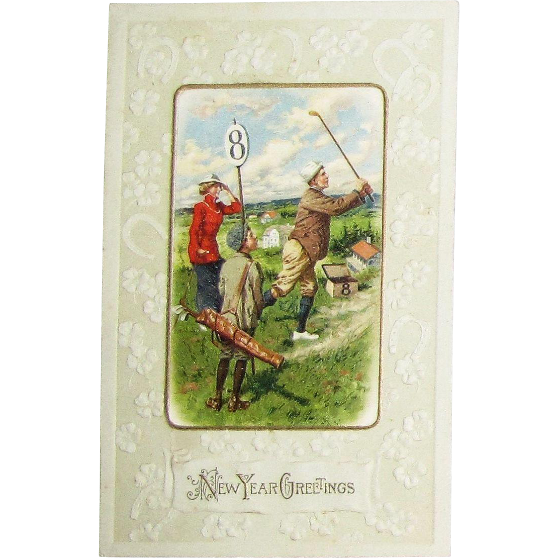 "Circa 1920's Embossed Golf Post Card for ""New Year Greetings"""