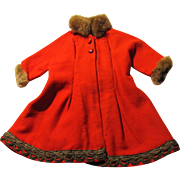 Red Wool Fur Trimmed Coat for Medium Doll, Christmas!