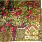 "52"" Long Olive & Red Silk Scarf by Harve Bernard"