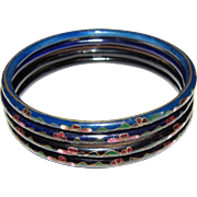 Four Thin Floral Cloisonne Bangles in Blue & Black