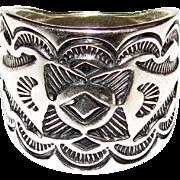 """Rare Carolyn Pollack """"Carlisle"""" Sterling Engraved Cigar Band Ring, Size 9"""