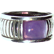 Sterling Cigar Band Ring w/ Purple Stone, Sz 9, 10 grams