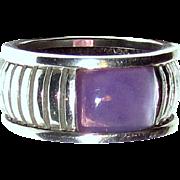 Sterling Cigar Band Ring w/ Purple Stone, Sz 9, 10 grams