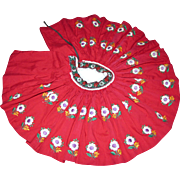 Hand Embroidered Red Ethnic Super Full Skirt for Medium Doll