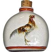 Italian Hand Painted Rooster Bottle w/ Cork Stopper