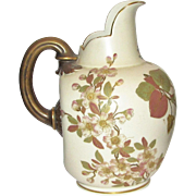Large Antique Royal Worcester Hand Painted Pitcher