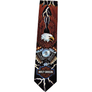 Harley Davidson Ralph Marlin Tie, Motorcycle, Eagle, Lightning, Motor Engine
