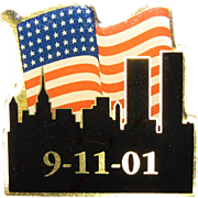 "Enamelled 9-11-01 Memorial Pin 1 1/4"", Like New"