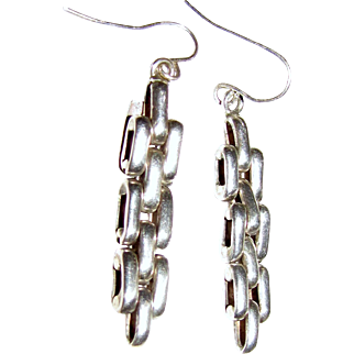 Signed TI-115 Taxco Sterling Silver Wide Chain Link Earrings