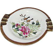 Kutani Hand Painted Mid Century Ashtray, Birds, Flowers!