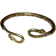 Mixed Metal Egyptian Revival Snake Bracelet