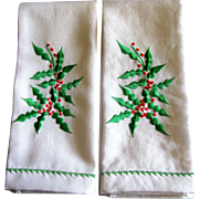 Unused Pair Christmas Foliage Embroidered Finger Towels by Hallie St. Mary