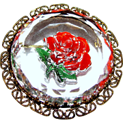 W. German Goofus Glass Rose Pin w/ Filigree Frame