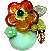 Amber & Jade Colored Art Glass Flower Pin