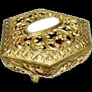 Harris, Vintage Gilt Filigree Ring or Small Trinket Box