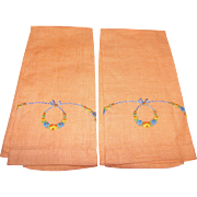 Pair Art Deco Peach Linen Floral Swag Finger Towels