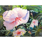 Framed Watercolor of Hawaiian Hibiscus, Signed & Numbered