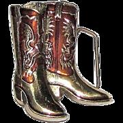 """Boron"" Cowboy Boots Belt Buckle, Solid Brass w/ Enamel, 1979"