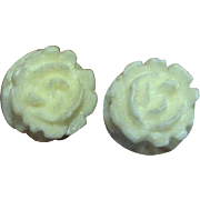 Tiny Hand Carved Bone Rose Stud Earrings