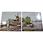 """2 Vintage Holland Scenic Tiles """"Fishing Boat & Windmill Scene"""" Hand Painted"""