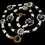 "25"" Pop Art Monochrome Glass Necklace"