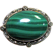 Lennie Mariano Navajo Sterling Malachite Pin, Beautiful!