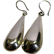 "Designer ATI Mexican Modernist Sterling Earrings, 2 3/8"", 11 grams"