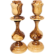 2 Bethlehem Olive Wood Hand Carved Candlesticks, Like New