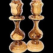 2 Bethlehem Olive WoodHand Carved Candlesticks, Like New