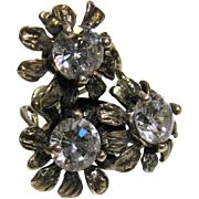 Large Hand Wrought Sterling & CZ Flower Ring, Sz 7 3/4, 12 grams