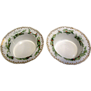 2 Antique Royal Rudolstadt Crown B Christmas Holly Nut Dishes