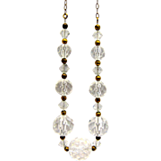 Art Deco Crystal on Chain Necklace w/ Filigree Clasp