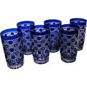 "6 Vintage Cobalt Cut to Clear 4 1/2"" Tumblers, Bohemian, Mint"