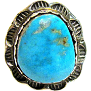 Navajo Robert Haley Turquoise & Sterling Ring,  Sz 7 1/4
