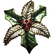 Large Christmas Holly Pin w/ Enamel & Rhinestones