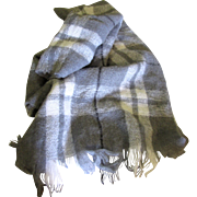 "Super Soft 70"" Wool & Acrylic Mohair Gray Plaid Shawl"