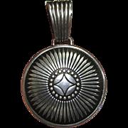 Native American Cast Sterling Large Pendant, 10 1/2 grams