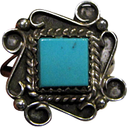 Native American Sterling & Turquoise Ring, 7.5