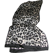 "Monochrome Cheetah Print 58"" Pure Silk Scarf"