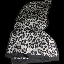 """Monochrome Cheetah Print 58"""" Pure Silk Scarf"""