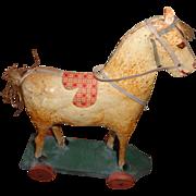 Antique Papier Mache` Horse Toy 1900-20