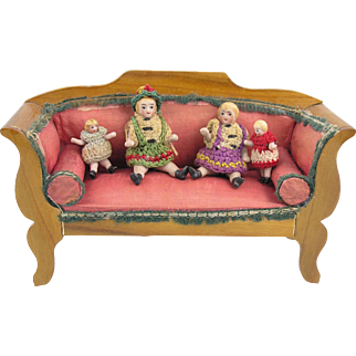 Carl Horn: Four tiny little Doll's House Dolls in Original Cloth