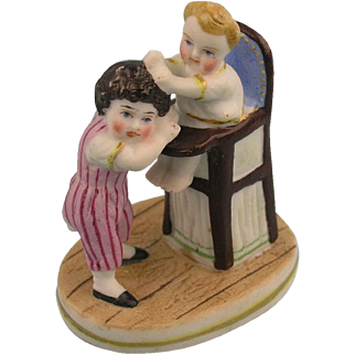 19th. Century Miniature Porcelain Group of Children - Most lovely! (2)