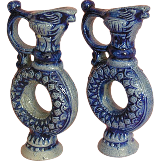 "Very Rare: a Wonderful Pair of German ""Ring-Mugs"" in Neo-Renaissance Style ca. 1880"