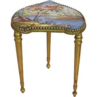 Most wonderful Antique Miniature Austrian Corner Table - Rare Handpainted Romantic Landscape!
