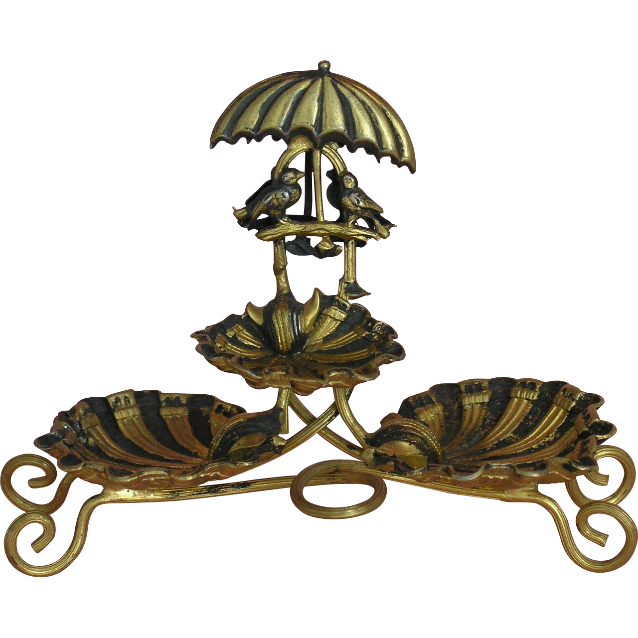 extremely decorative miniature ormolu etagere with tiny birds sitting from dollhouse paradise. Black Bedroom Furniture Sets. Home Design Ideas