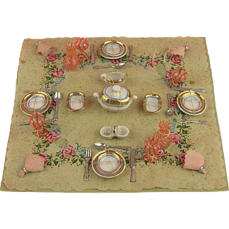Very Tiny Doll's house Dinner set on original Cardboard!