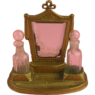Neoclassical Toilet Set with Original Glass Bottles with lids - by Gerlach!