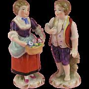 Vienna: Antique Miniature Pair of 19th century Porcelain Figures!